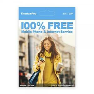 FreedomPop Nationwide Talk Text  Data Mobile Phone Service w/ 3-in-1 LTE SIM Kit
