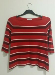 Marks and Spencer Womens Top Size 16 Red White Burgundy Striped 3/4 sleeves