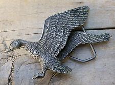 Duck Waterfowl Hunting Indiana Metal Craft 1970's Vintage Belt Buckle