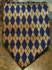 IZOD Mens Tie Gold Blue Diamond Shapes 60L EUC silk Geometric