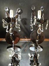 Pair Maxim Lighting Elegante Light Wall Sconces - Oil Rubbed Bronze Crystal