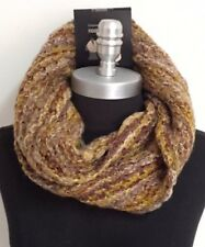 Women Winter Warm Infinity One Circle Knit Cowl Loop Scarf Wrap,Yellow/Browns
