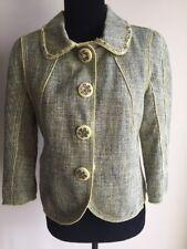 Moschino Embellished Tweed Jacket Coat Green Sz 6 IT 42