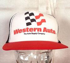 vtg 80s mesh back foam Western Auto Supply Snapback Trucker Hat Cap racing Indie