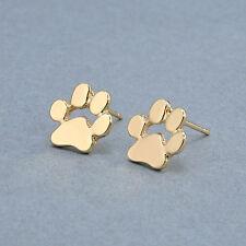 New Womens Gold Paw Print Cat Dog Pet Puppy Kitten Party Earrings Stud Jewellery