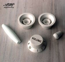 SET BOUTONS BLANCS STRATOCASTER Vintage KNOBS & TIPS US & Metric size WHITE