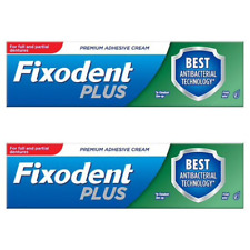 2 Fixodent Plus Dual Protection Denture Adhesive Cream Foodseal Antibacterial 40