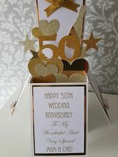 Handmade  Personalised 50th Golden Wedding Anniversary Pop Up  Card