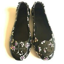 Tory Burch Minnie Travel Ballet Flats Black Floral Patent Leather Shoes Size 8