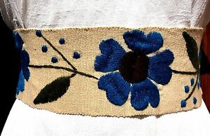 5 de Mayo Mexican floral hand Embroidered Belt sash Multiple colors wrap around