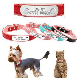 Leather Custom Personalized Dog Collars Laser Engraved Kitten Dog Name Collars