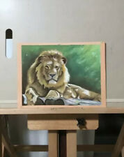 "Original Pastel Painting Of Resting Lion On Paper 9"" x 12"""