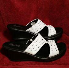 Skechers Cali Rumblers Hope Floats Wedge White mini studded Womens Sandals 11 M