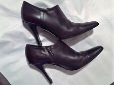 PRADA BURGUNDY LEATHER BOOTIES ITA 39.5 MADE IN ITALY Pre-Loved