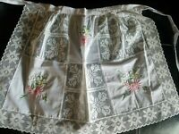 VINTAGE 1/2 APRON, WHITE w/ EMBROIDERED needlework, lace ... @LOOK!@