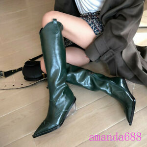Spring Fall Women Clear Wedge Heels Western Knee High Boots Zip Leather Shoes Sz