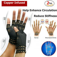 2 Pair Copper Arthritis Compression Gloves Fit Carpal Tunnel Hand Brace Support