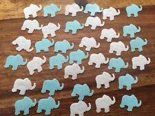 36 Precut blue white rice paper elephants Edible Cake cupcake decoration Toppers