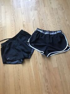 Lot of 2~UNDER ARMOUR~Athletic Lined Running Shorts~Small~Black~EUC