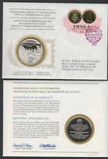 TONGA 1975 INT. SOC. OF POSTMASTERS STERLING SILVER PROOF MEDAL COVER FDC