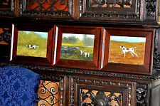 Set  of  3 Vintage Original Hunting Dog Paintings by well known artist