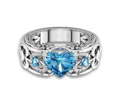 Crystal Women 925 Sterling Silver Rhinestone Heart Finger Ring Wedding Jewelry