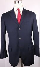 Polo Ralph Lauren Solid Navy Blue 3 Button Side Vented Wool Suit 38 R 32 30 Flat