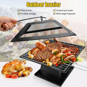 Multifunctional Wood Burning Brazier Patio BBQ RV Travel Camping Stove Brazier