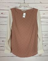LOFT Women's S Small Pink Ivory Long Sleeve Fall Blouse Top Shirt NEW With TAGS