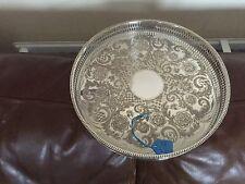 """BELLA argento placcato Galleria circolare Vassoio 10.25"""" (LVD's of Sheffield) TR43"""