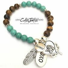 Success Thinking Angel Feather Clover Xoxo Charm In Tiger Eyes Turquoise Gems