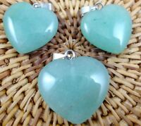 3PC Unique aventurine Heart-shaped pendant Gem necklace earring Jewelry Making