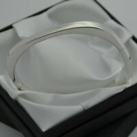 Vintage 925 Sterling Silver Plain Squared Design Bangle Bracelet