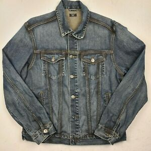Men's Next Blue Denim Jacket Size Large Long Sleeve Cotton - GH40