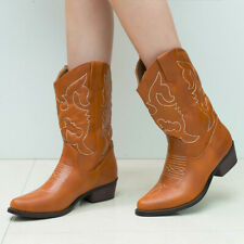 SheSole Ladies Cowboy Cowgirl Boots Mid Western Heel Wide Calf Wedding Shoes