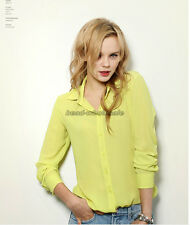 Women Loose Long Sleeve Chiffon Casual Blouse Shirt Tops Blouse Fashion