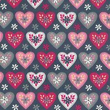 Cotton Poplin Heart Fabric Material - Hearts - Metre, Half Metre