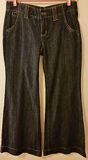 BCBGirl Jean Blue Denim Cuffed Wide Leg Low Indigo Cotton 4 Pocket Size 30
