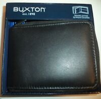 Buxton ZIPAROUND CONVERTIBLE Leather Billfold Wallet ,Black