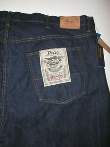 New Polo Ralph Lauren Hampton Straight Men's Big & Tall Dark Denim Jeans 50 x 30