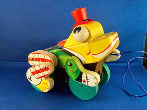 Vintage Fisher-Price Buddy Bullfrog Wooden Pull Toy