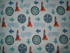 Retro TRAFFIC CONE, TYRES, ARROW, ROAD Fabric (50cm x 50cm)