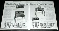 1925 OLD MAGAZINE PRINT AD, MUSIC MASTER RADIO, REPRODUCER & RECEIVER SETS, ART!