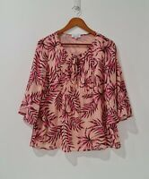 Table Eight Size 10 Pink Floral Blouse 3/4 Bell Sleeve Front Front Tie Top