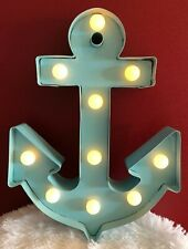 """Anchor~Blue With Lights, Beautiful Home Wall Metal Decor, 9.25"""" Tall & 9"""" Wide"""