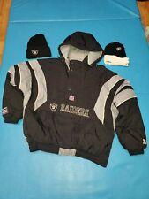 VTG 90S STARTER OAKLAND RAIDERS PULL OVER PARKA JACKET XL NFL LOS ANGELES w/hats