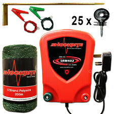 Mains Electric Fence Energiser ShockRite SRM402 0.2J 200m Green PolyWire 25 Ring