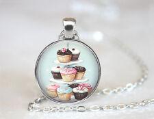 Cupcake Arrangement Tibetan silver Dome Glass Art Chain Pendant Necklace