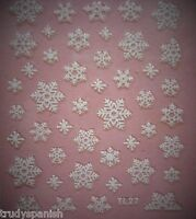 Christmas Snowflakes Bows White Gold Silver 3D Nail Art Stickers Decals Transfer