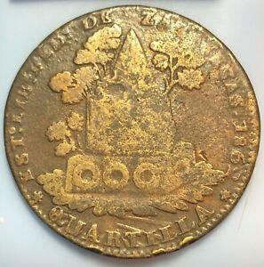 1856 Mexico ~ 1/4 Real ~ Zacatecas Cherub Quarto/Quartilla Coin (R18)